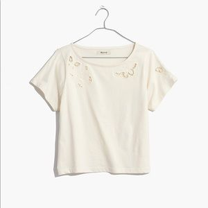Butterfly Embroidered Eyelet Setlist Boxy Tee